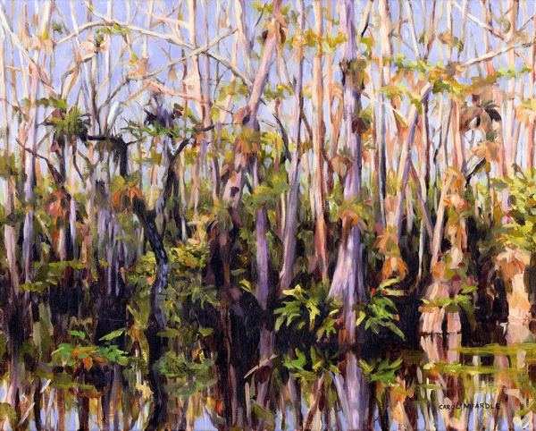 The Greater Everglades Conservation Atlas was a place-based art project that mapped locations in the Everglades through the artists who live and work there. In her painting, Magic and MysteryCarol McArdle captures the beauty visible to visitors on the Loop Road in the Big Cypress Preserve.